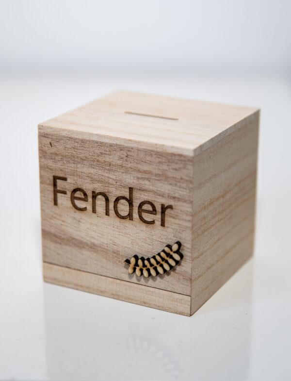 houten spaarpot met personalisatie