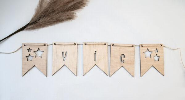 houten vlaggetjes met naam DX.XI