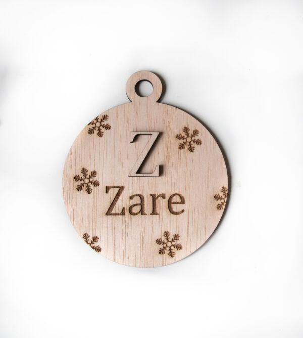 houten kerstbal met naam personalisatie