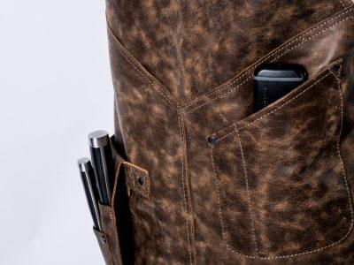 DX.XI leren schort bbq schort leren bbq schort lederen schort bbq schort leer leather apron badge personalisatie thermapen